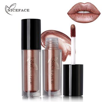 NICEFACE 12 Color Ultra Metal Liquid Lipstick Bronze Rose Gold Shimmer Metallic Lip Gloss Makeup Waterproof Long Wearing Lips