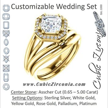 CZ Wedding Set, featuring The Wanda Lea engagement ring (Customizable Asscher Cut Halo-style with Ultrawide Tri-split Band & Peekaboo Accents)