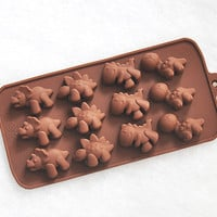 Cute Dinosaurs Silicone Chocolate Mold Silicon Mini Soap Moulds Ice Candy Molds