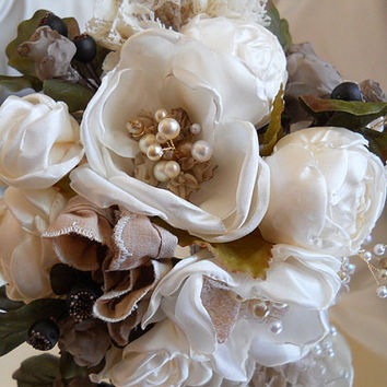 """Vintage Style Peony Bridal Wedding Bouquet of handmade ivory peonies, vintage pearls, lace and natural stem handle. """"READY TO SHIP"""""""