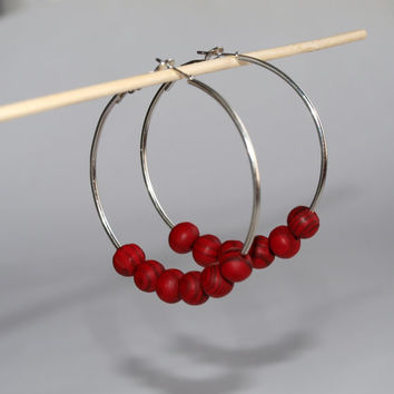 Oversize hoop earrings Large hoops with wooden red beads Red stylish earrings Silver big gypsy  boho bohemian earrings 2 inches round hoops