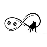 17.8*9.7CM Pit Bull Dog Animal Paw Prints Car Stickers Cute Vinyl Decal Car Styling Motorcycle Accessories Black/Silver S1-0752