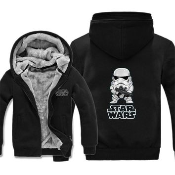 New Winter Jackets and Coats Film Star Wars Hoodie Darth vader Hooded Thick Zipper Wintwe Warm Fleece Men Sweatshirts Free Ship