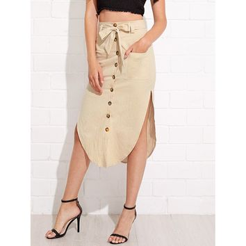 Button Up Front Pocket Asymmetrical Skirt With Knot Waist