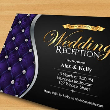 Wedding Reception Invitation, Wedding party, Gold Glitter Invitation Wedding elegant glam gold wedding party Invitation  - card 78