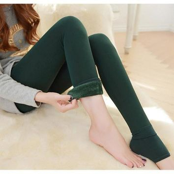 Amazing Lady Winter Warm Legging Thickened Winter Super Elastic Fleece Women Leggings Solid Color