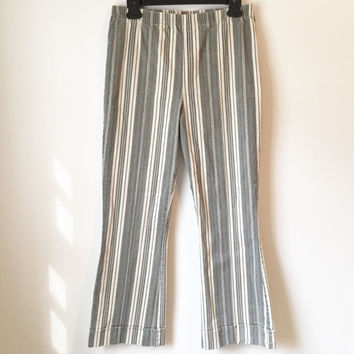 S A L E || Vintage High Waisted Vertical Stripe Pants || Vintage Flares || High Waist Pants || Easy Fit Trousers