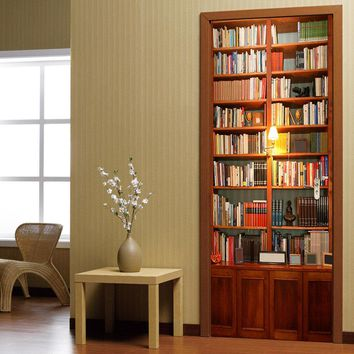 200X77CM 3D Retro Bookcase PVC Self Adhesive Door Wall Sticker Living Room Mural Decor