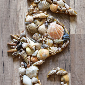 Seahorse shell decor,Nautical ornament,Sea horse decoration,Wood wall hanging decor,Beach wedding,ocean,Coastal seashells,Wall art,Rustic