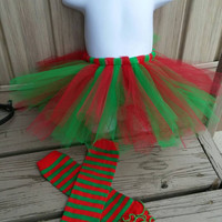 Little Elf Tutu Leg Warmers set -  First Christmas Baby Girl Outfit -  photos