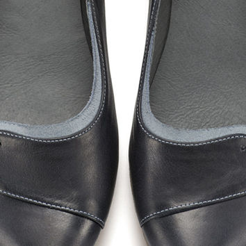 Ninna Midnight Blue, Dark Blue shoes, Leather soes, Leather Flats, Handmade shoes