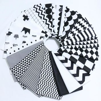 160*50cm Classic Black&White Style Twill Cotton Fabric Telas DIY Patchwork Sewing Toy Material Quilting Bedding Tecido Tissue