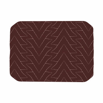 """Julia Grifol """"Brown Triangles"""" Maroon Pattern Place Mat"""