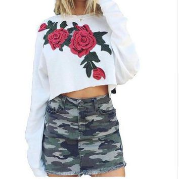 Fashion Rose Embroidery Long Sleeve Cami Crop Top Sweater Pullover