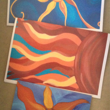 Set of 3, Sun, Note Cards, from original abstract acrylic energy paintings, FREE shipping