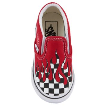 Vans Classic Slip On - Boys' Toddler - Shoes - Vans - Skate Shoes - Boys' Toddler - Casual - Racing Red/True White | Checker Flame | Kids Foot Locker