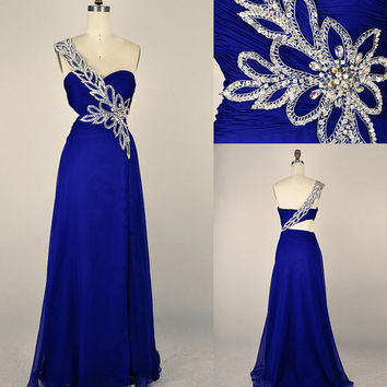 2013 Style A-line One Shoulder Ruffles Sleeveless Floor-length Chiffon Prom Dresses / Evening Dresses Free shipping