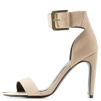 Nude Qupid Chunky Heel Ankle Strap Sandals