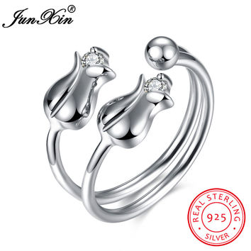 JUNXIN Luxury Rose Shape 100% 925 Sterling Silver Opening Rings For Women Bridal Wedding Engagement Party Zircon Ring Hot Sale