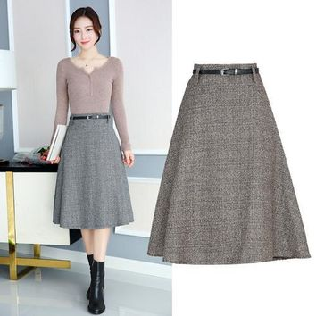 TingYiLi Autumn Winter Midi Skirt High Waist Retro A Line Plaid Skirts Womens Khaki Gray Black Skirt Knee Length