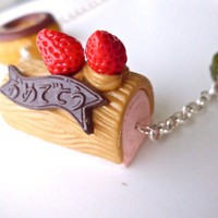 Donut and cake necklace, chocolate and strawberry necklace, food jewelry