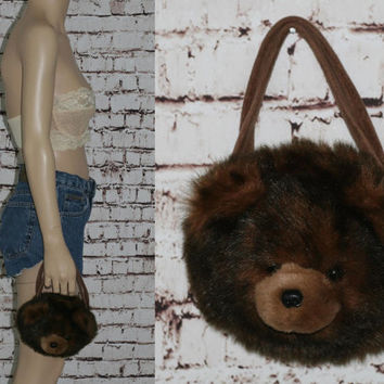 Kawaii Teddy Bear Purse Plush Furry Fuzzy Plushy Clutch Handback Lolita Pastel Goth Grunge Wristlet 90s brown hipster living doll