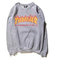 Thrasher Magazine Red Flame Logo Gray & Yellow Crew Neck Sweatshirt