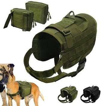 Tactical Dog Harness Military Molle Vest Nylon Pet