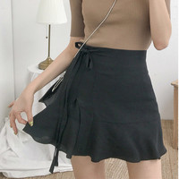 Ribbon Flare Mini Skirt
