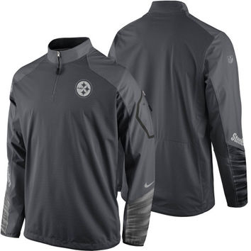Pittsburgh Steelers Nike Platinum Fly Rush 2.0 Pullover Performance Jacket – Charcoal - http://www.shareasale.com/m-pr.cfm?merchantID=7124&userID=1042934&productID=551046295 / Pittsburgh Steelers
