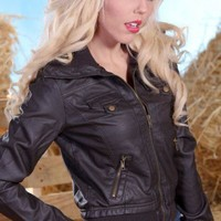 DARK BROWN FAUX LEATHER RIBBED COLLAR ZIPPER POCKETS AVIATOR JACKET @ Amiclubwear Outerwear Clothing Store:Women's Outer Wear,leather motorcycle jackets,double breasted coats,winter outerwear,outerwear jackets,Outerwear Dress,Discount Outerwear,sexy jacke