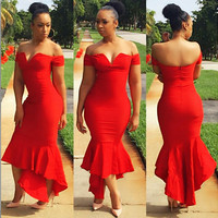 Red Off-Shoulder Ruffles Bodycon Maxi Dress