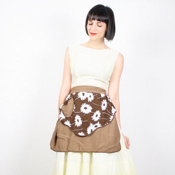 Vintage Apron Half Apron Waist Apron Hostess Apron Brown White Daisy Print Sunflower Skirt Apron Gift For Her Bridal Shower Gift Mad Men Mod