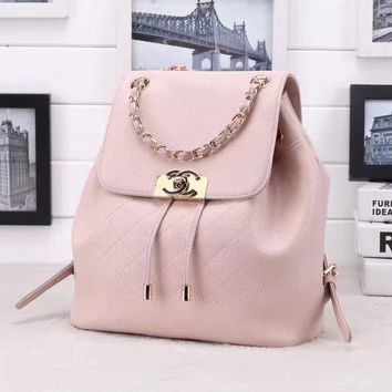 2018 New Chanel Caviar Skin Large Shoulder Bag Bucket Bag Backpack Bag avelling bag Beige