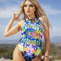 Neon Evil Eye Rave Bodysuit