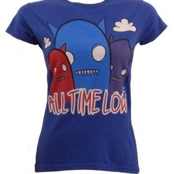 All Time Low Ghost Ladies Blue T-Shirt - Offical Band Merch - Buy Online at Grindstore.com