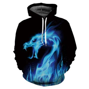 Blue Smoke Blue Fire Dragon All Over Print Hoodie Sweatshirts Sweater