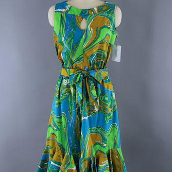 Vintage 1960s Day Dress / Aqua Blue Marble Print / Opducke's of Streator