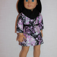 18 inch doll clothes, floral ascot dress, lace infinity scarf, belt with faux rhinestone buckle, upbeat petites