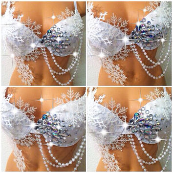 White Winter Wonderland Rave Bra