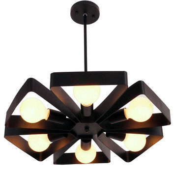 Black Vintage Barn Metal Floral Pendant Light with 6 E26 Bulb Sockets 360W Painted Finish