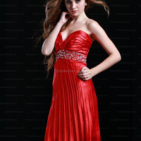A-line Sweetheart Elastic Woven Satin Knee-length Red Ruffles Homecoming Dress at dressestore.co.uk