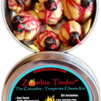 Zombie Tinder - The Cascades: Temperate Climate Kit - Extreme Fire Starter & Tinder - Over 2 Hours of Total Burn Time - Easy Light Wick - Spark Light