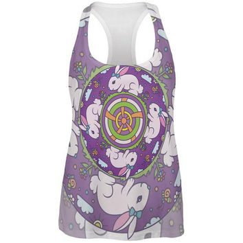 LMFCY8 Mandala Trippy Stained Glass Easter Bunny All Over Womens Work Out Tank Top
