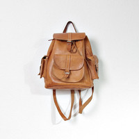 70s Leather Mini Backpack / Honey Brown Ruckpack / Grunge Boho Bohemian Pack