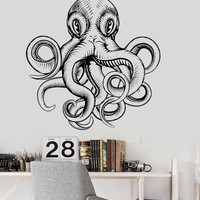 Wall Vinyl Decal Octopus Tentacles Ocean Sea Theme Bathroom Stickers Unique Gift (ig3086)