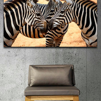 "Canvas Print Artwork Stretched Gallery Wrapped Wall Art Painting Zebra Safari Africa Animals Horse Large Size 26x39"" (can18)"