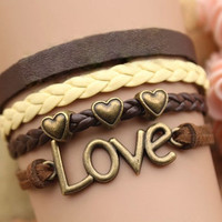 Love Bracelet, Heart Bracelet, Letter Love Heart Bronze charm, Brown Suede and Leather, Yellow and Brown Braided Leather