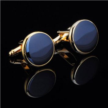 Round Gold Cufflinks with Dark Blue Face