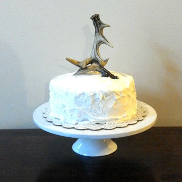 Rustic Deer Antler Wedding Cake Topper Natural, White, or Gold Leaf
